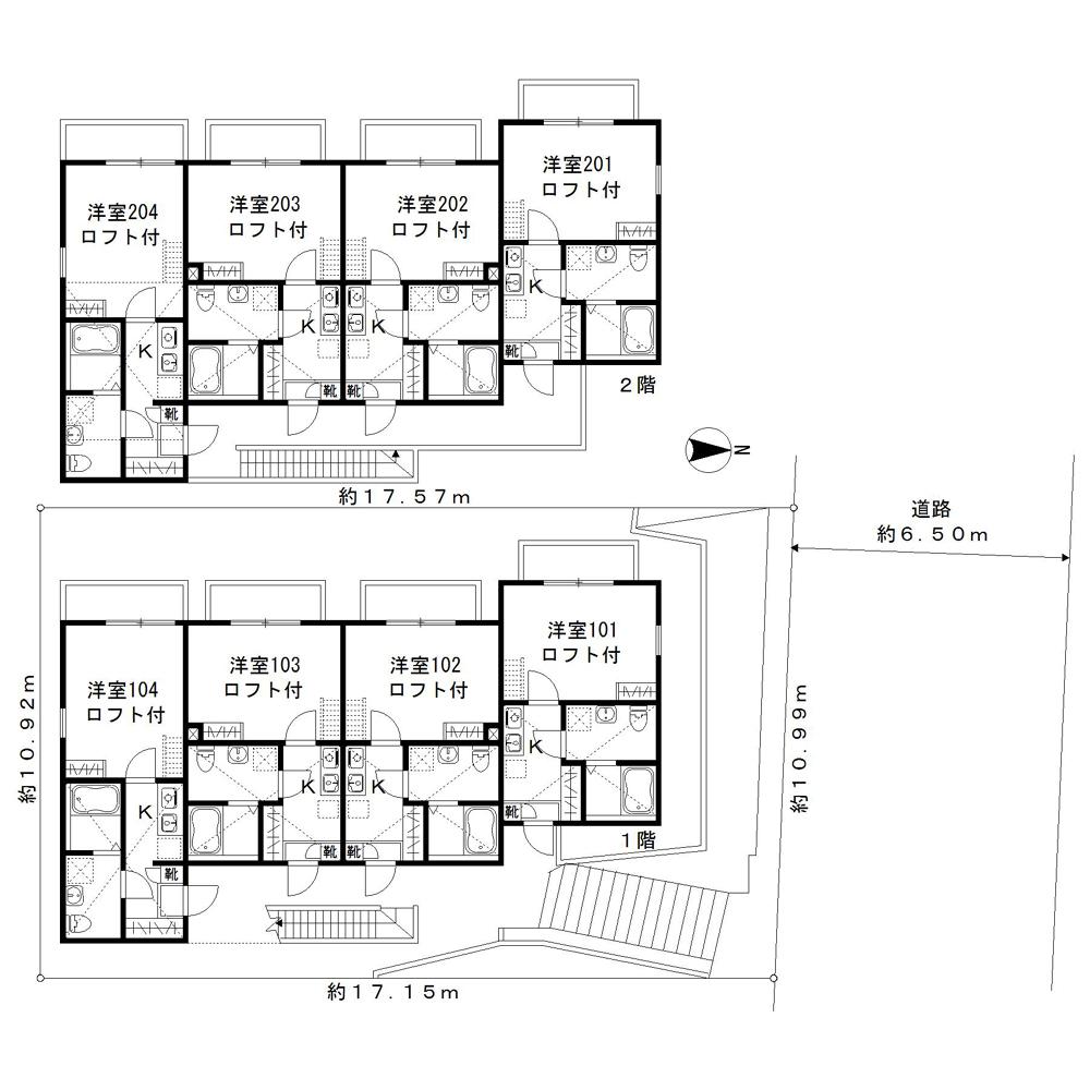 富岡西7丁目集合住宅モノクロ