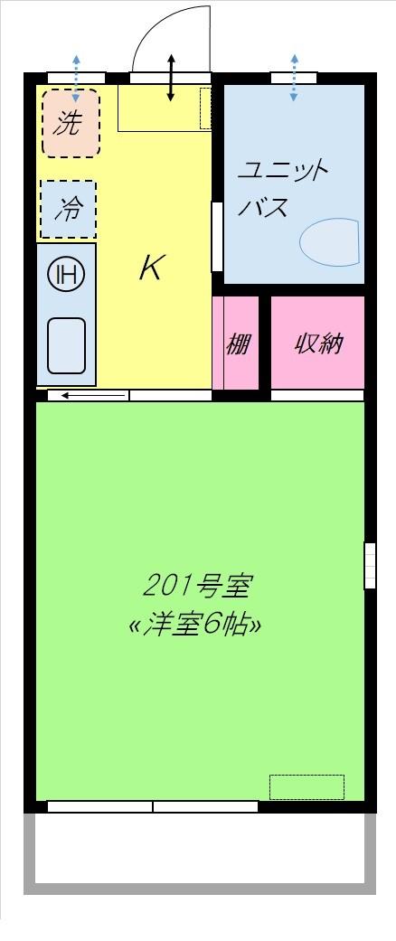 Gハウス能見台201号室間取